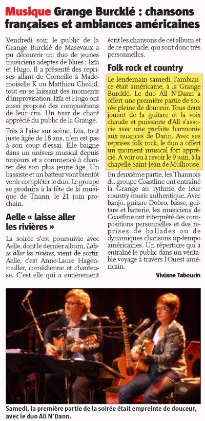 Article journal l'Alsace du 15 mai